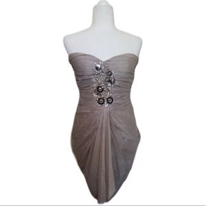 Bebe Champagne Embellished Strapless Dress